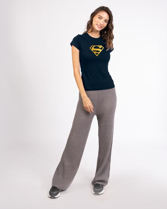 Shop Superman Gold Half Sleeve T-Shirts Navy Blue (SML)-Full