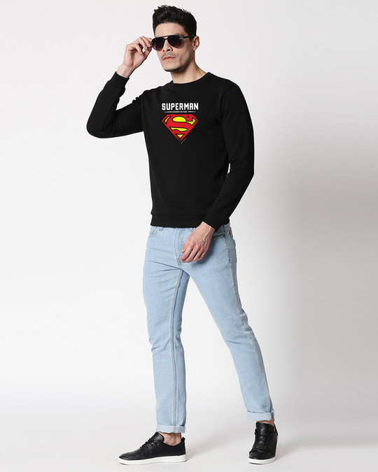 Shop Superman Grunge Logo Fleece Sweater-Design