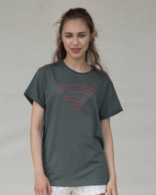Shop Superman Line Boyfriend T-Shirt (SML)-Front