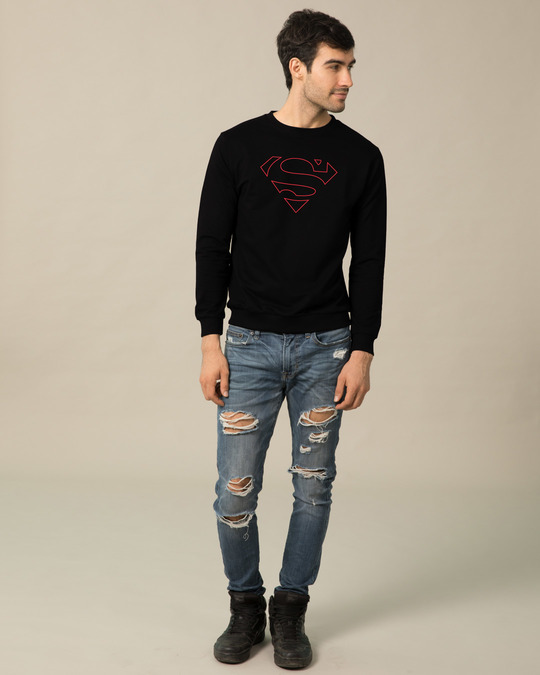 Shop Superman Line Fleece Light Sweatshirt (SML)-Design