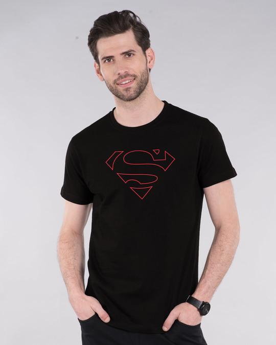 Shop Superman Line Half Sleeve T-Shirt (SML)-Back