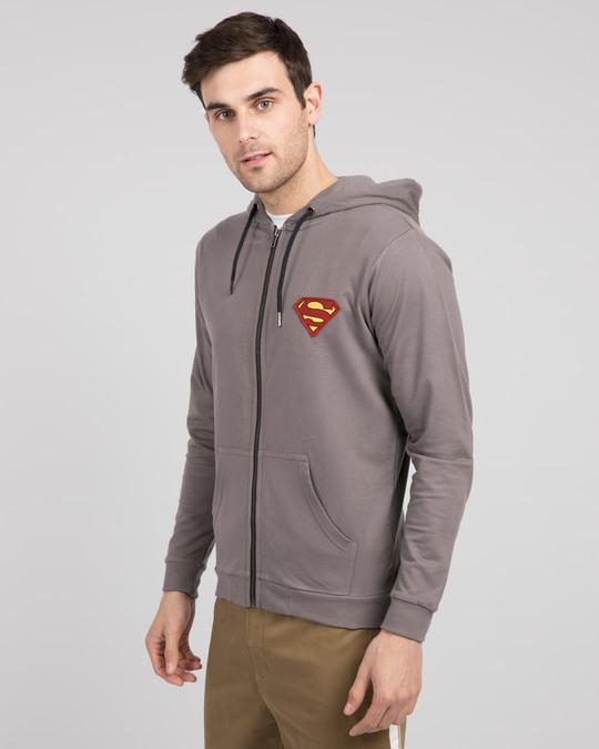 Shop Superman Logo Badge Zipper Hoodie-Back
