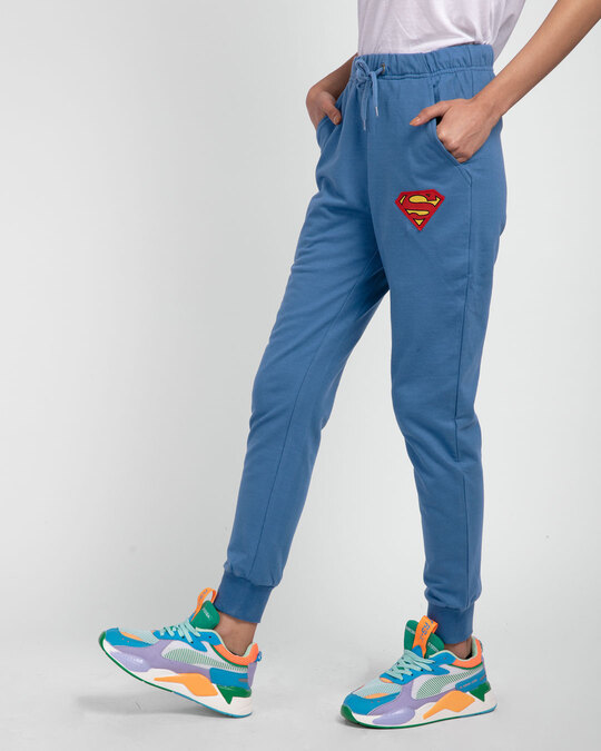 Shop Superman Logo Casual Badge Jogger Pants (SL)-Back