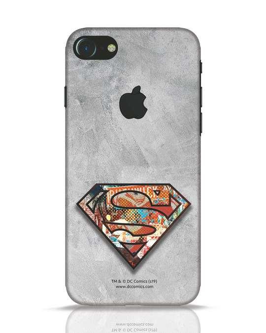 Shop Superman Logo Collage iPhone 7 Logo Cut Mobile Cover-Front