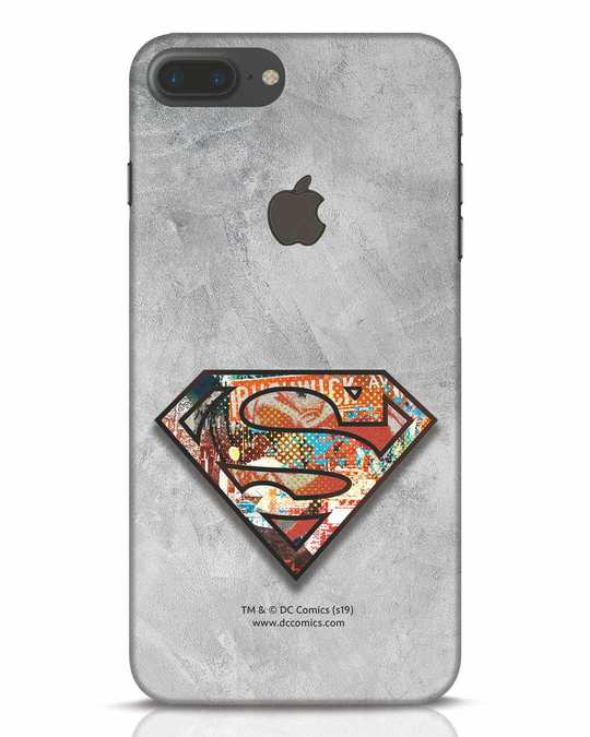 Shop Superman Logo Collage iPhone 7 Plus Logo Cut Mobile Cover-Front
