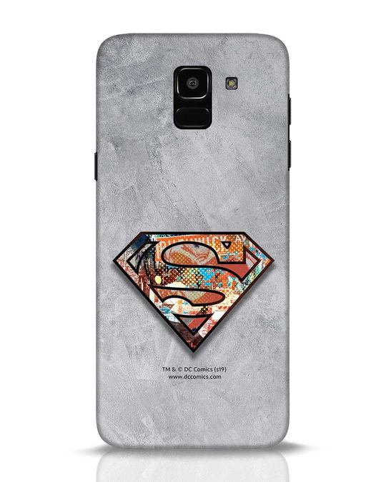 Shop Superman Logo Collage Samsung Galaxy J6 Mobile Cover-Front