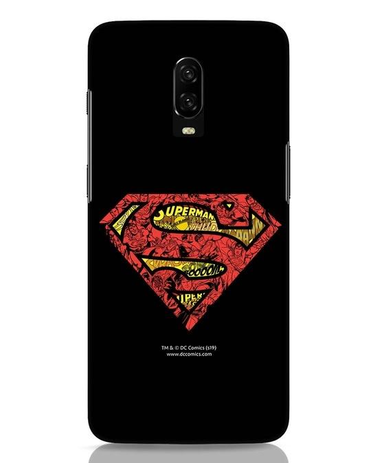 Shop Superman Logo Doodle OnePlus 6T Mobile Cover (DL)-Front