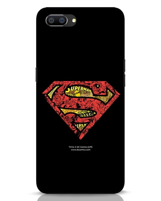 Shop Superman Logo Doodle Realme C1 Mobile Cover (DL)-Front