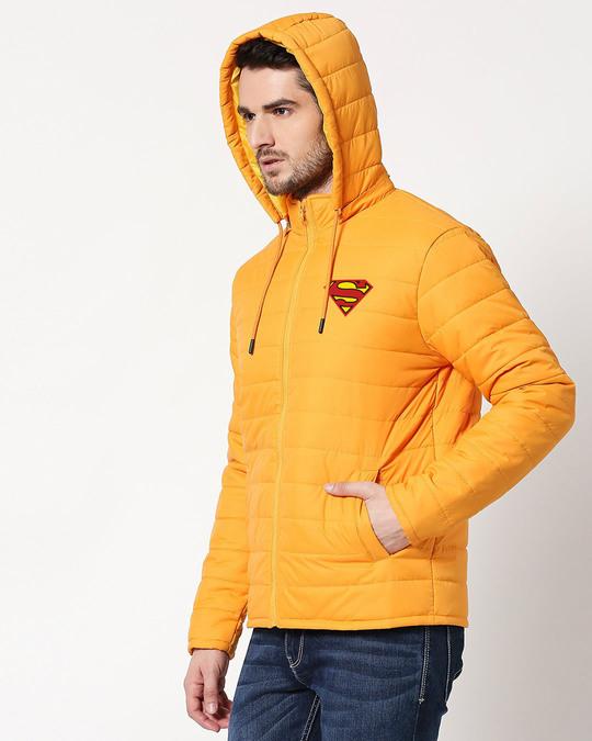 Shop Superman Logo Puffer Jacket with Detachable Hood-Back