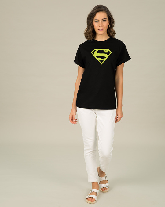 Shop Superman Neon Boyfriend T-Shirt (SML)-Full