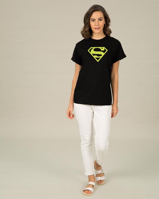 Shop Superman Neon Boyfriend T-Shirt (SML)-Design