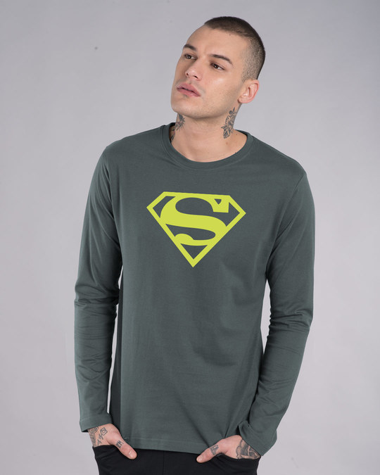 Shop Superman Neon Full Sleeve T-Shirt (SML)-Front