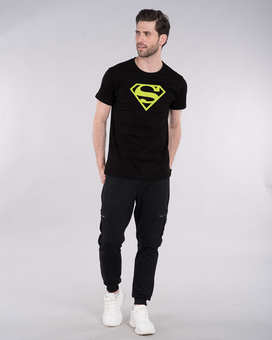 Shop Superman Neon Half Sleeve T-Shirt (SML)-Full