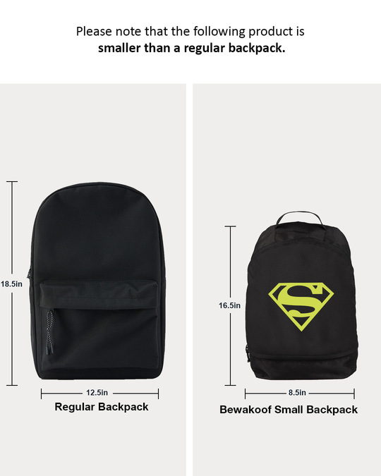 Shop Superman Neon Printed Small Backpack (SML)-Back