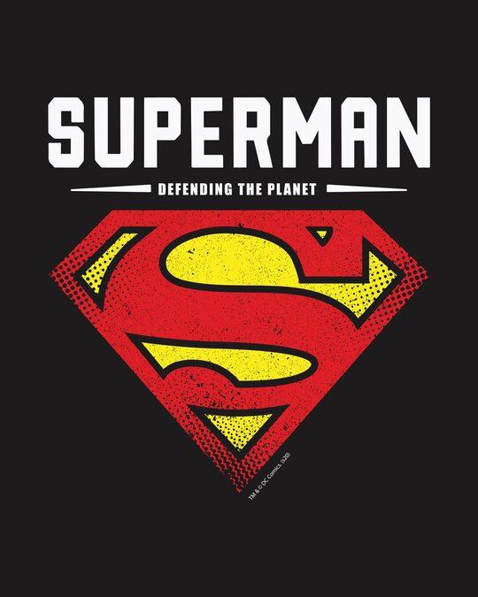 Shop Superman Planet Half Sleeve T-Shirt Black (SML)