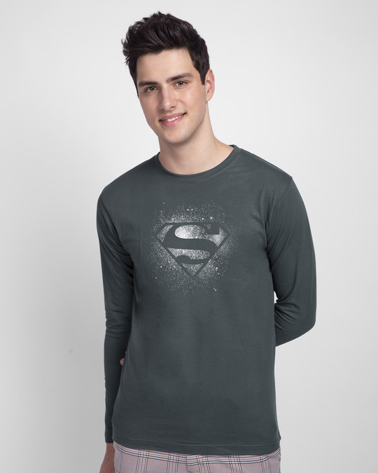 Shop Superman Spray Glow In Dark Full Sleeve T-Shirt (SL) -Back
