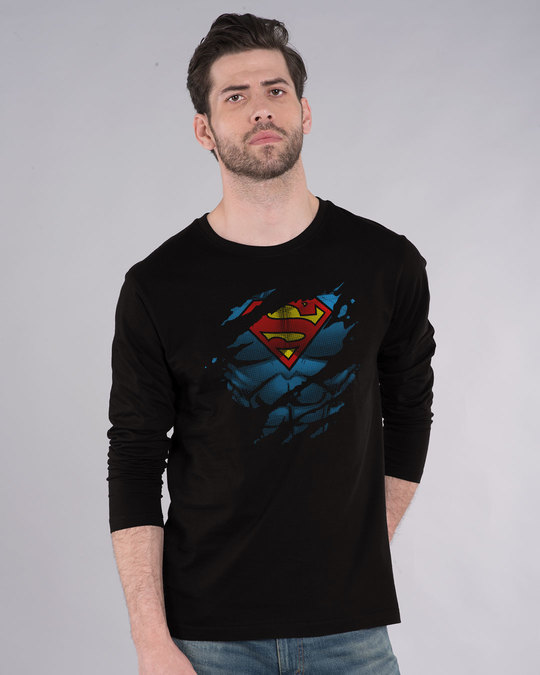 Shop Superman Torn Full Sleeve T-Shirt (SML)-Front