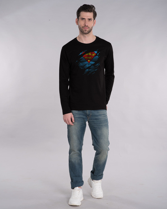 Shop Superman Torn Full Sleeve T-Shirt (SML)-Design
