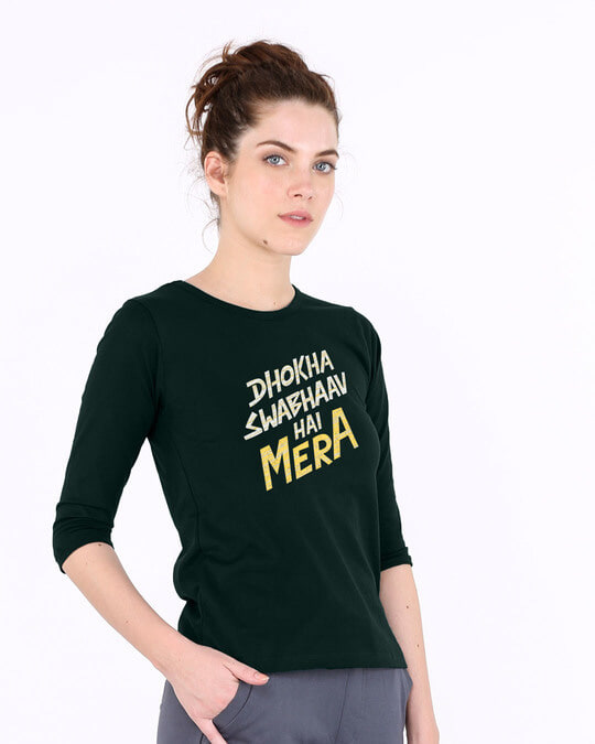 Shop Swabhaav Round Neck 3/4th Sleeve T-Shirt-Back