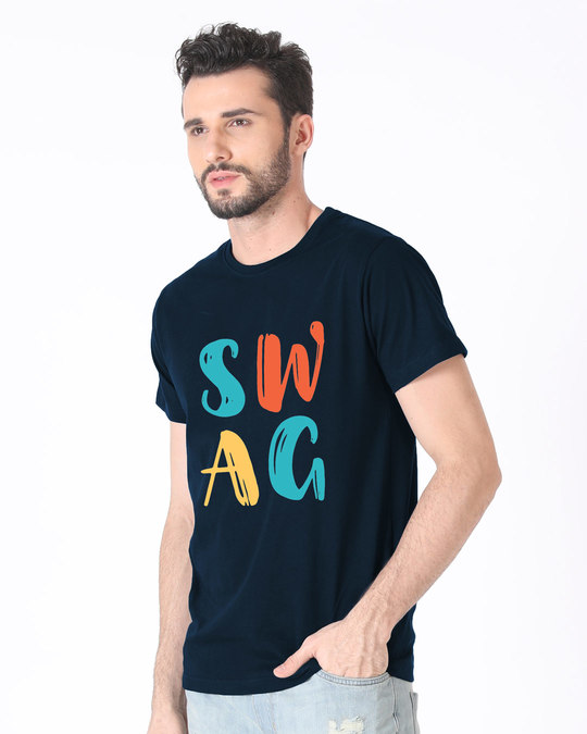 Shop Swag Typography Half Sleeve T-Shirt-Full