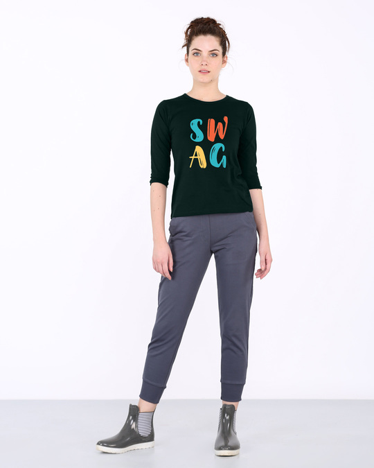 Shop Swag Typography Round Neck 3/4th Sleeve T-Shirt