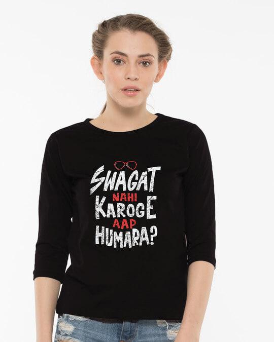 Shop Swagat Nahi Karoge Round Neck 3/4th Sleeve T-Shirt-Front