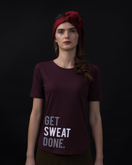 Shop Sweat Done Basic Round Hem T-Shirt-Front