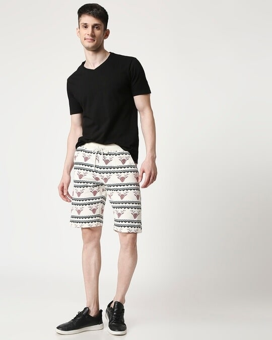 Shop Men Reindeer All Over Printed White Shorts