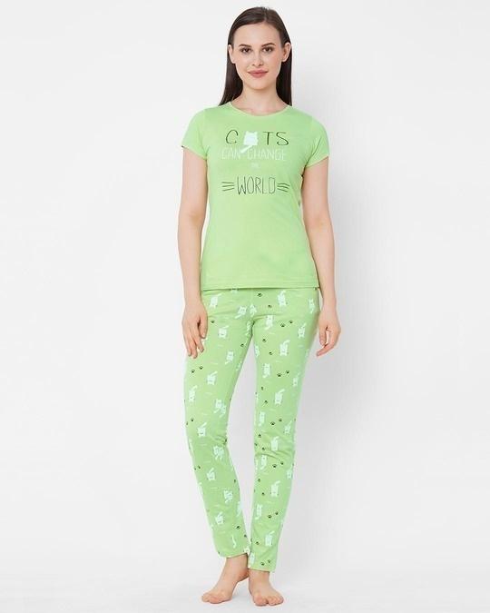 Shop Pista Green Printed  Pyjama Sets-Front