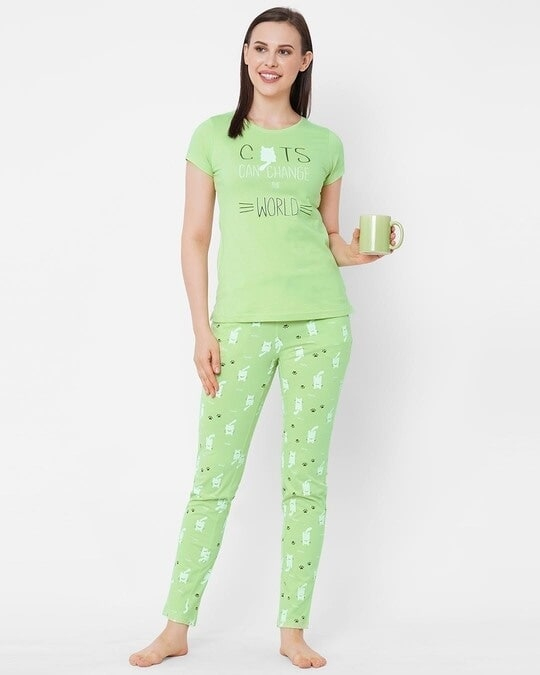 Shop Pista Green Printed  Pyjama Sets-Full