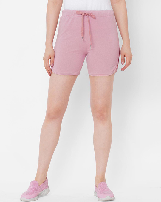 Shop Pink Solid Shorts-Front