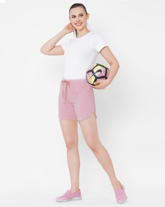 Shop Pink Solid Shorts-Full