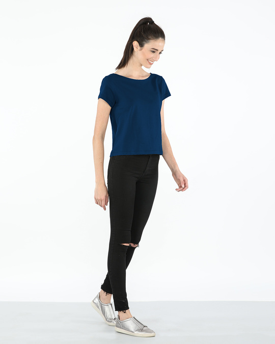 Shop Sydney Blue Pique Cropped Top-Full