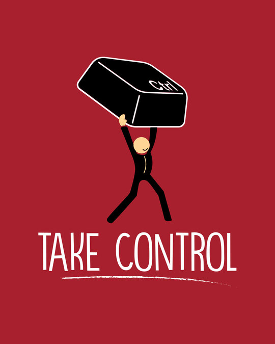 Shop Take Control Key Half Sleeve T-Shirt
