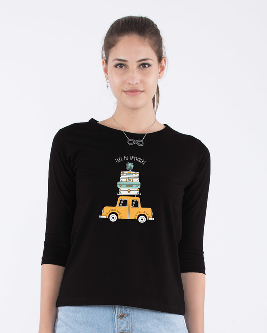 Shop Anywhere Round Neck 3/4th Sleeve T-Shirt-Front