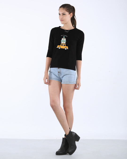 Shop Anywhere Round Neck 3/4th Sleeve T-Shirt
