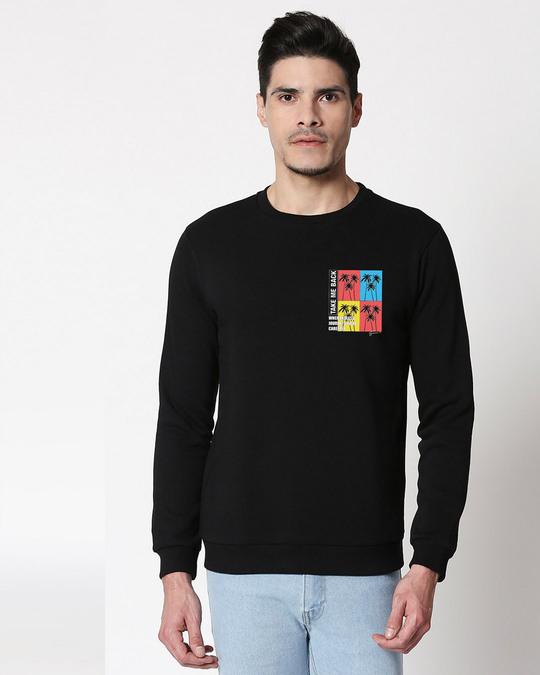 Shop Take Me Back Fleece Sweater Black-Back
