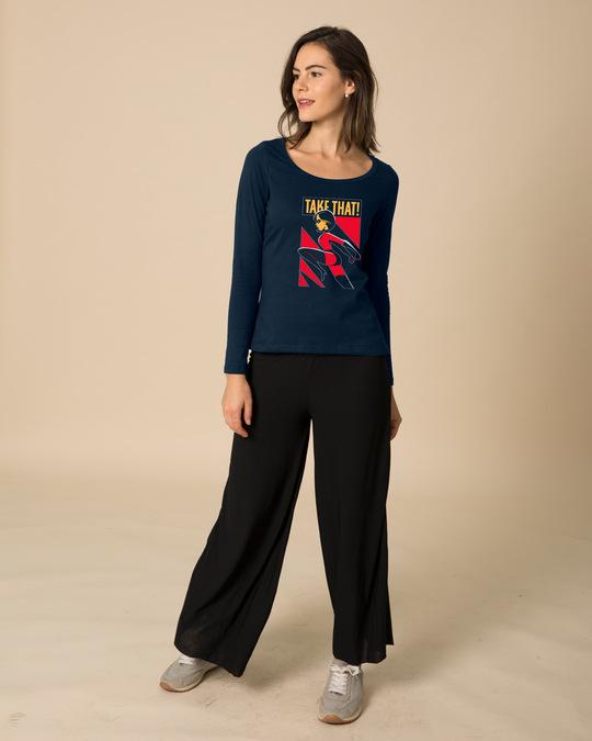 Shop Take The Kick Scoop Neck Full Sleeve T-Shirt (DL)-Design
