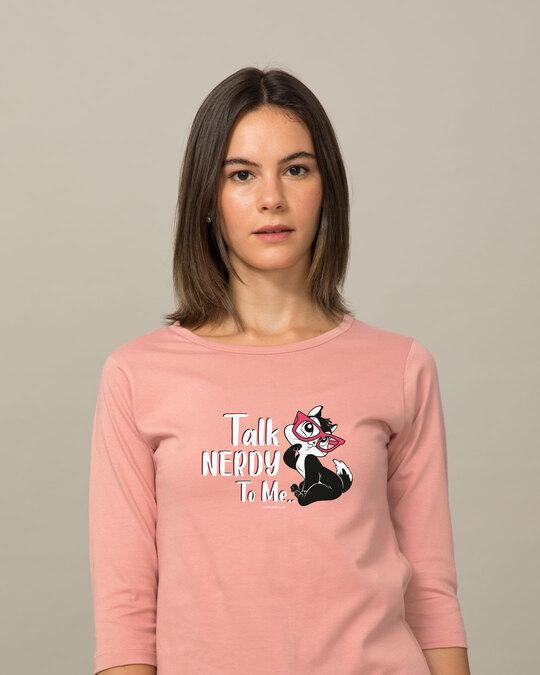 Shop Talk Nerdy To Me 3/4th Sleeve T-Shirt (LTL)-Front