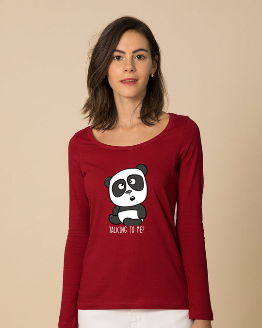 Shop Talking To Me Scoop Neck Full Sleeve T-Shirt-Front