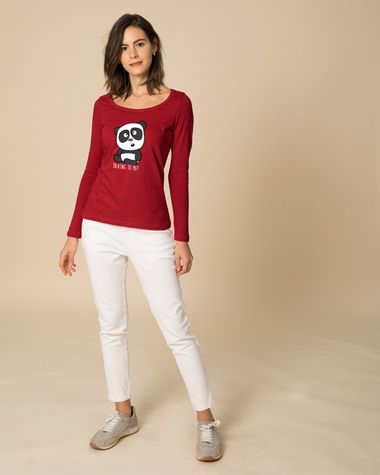 Shop Talking To Me Scoop Neck Full Sleeve T-Shirt-Design