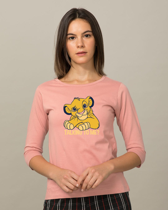 Shop Talking To Simba Round Neck 3/4th Sleeve T-Shirt (DL)-Front