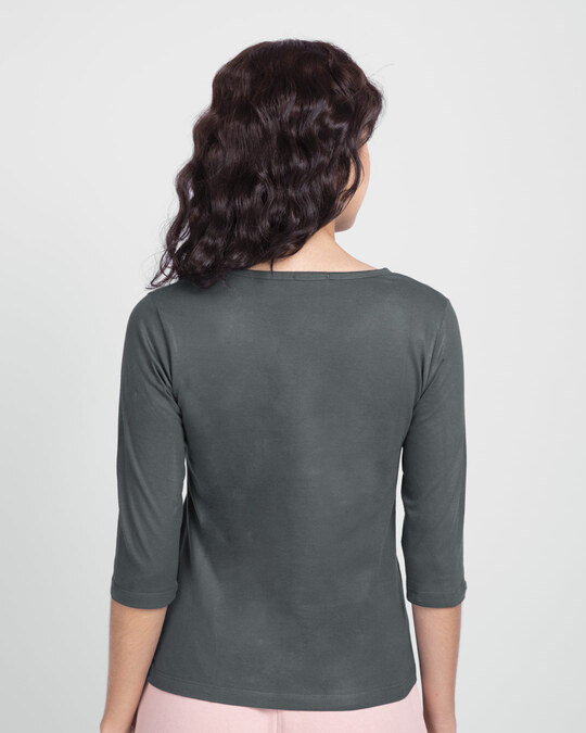 Shop Tape Social Round Neck 3/4th Sleeve T-Shirt-Back