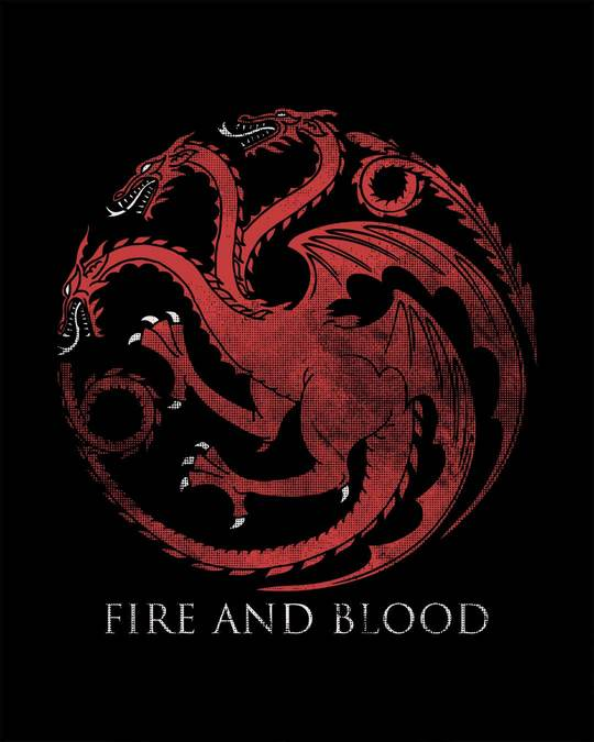 Shop Targaryen Fire And Blood Boyfriend T-Shirt (GTL)