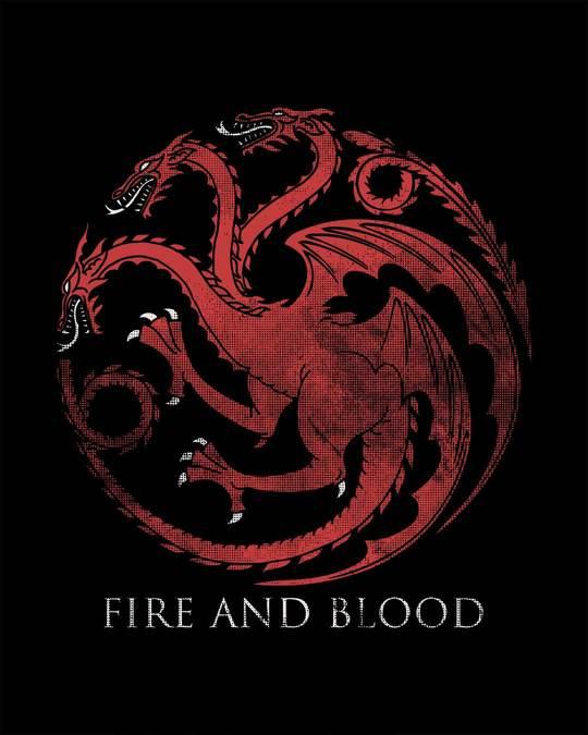 Shop Targaryen Fire And Blood Half Sleeve T-Shirt (GTL)