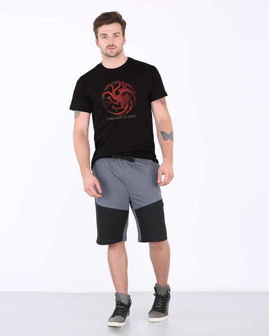 Shop Targaryen Fire And Blood Half Sleeve T-Shirt (GTL)-Full