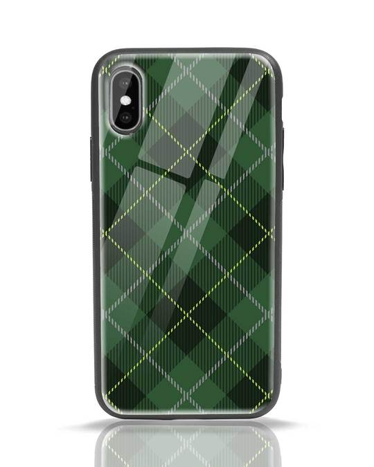 Shop Tartan Print iPhone X Glass Mobile Cover-Front