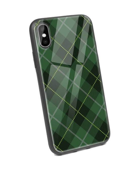 Shop Tartan Print iPhone XS Glass Mobile Cover-Back