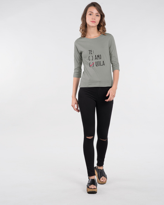 Shop Te-quila Round Neck 3/4th Sleeve T-Shirt-Design
