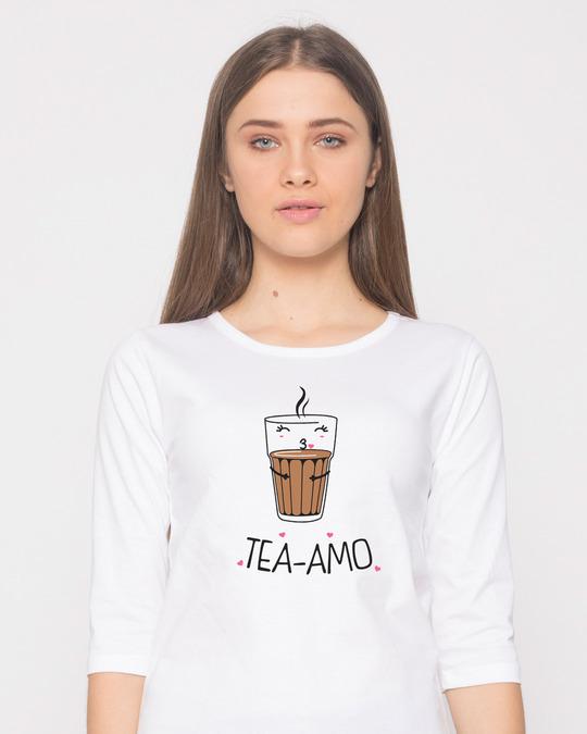 Shop Tea-amo Round Neck 3/4th Sleeve T-Shirt-Front